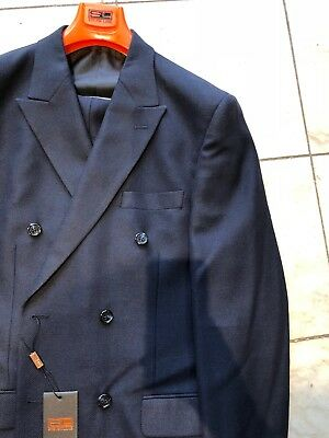 e946954f007256 NWT STEVEN LAND Men's Blue Color Classic Fit Wool Suit Double Breasted Size  40R