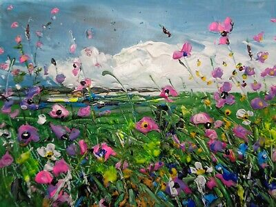 "ORIGINAL ACRYLIC OIL  PAINTING ON  CANVAS ""WILD FLOWER MEADOW""  5 x 7"""