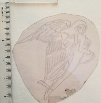 vintage unk tattoo acetate stencil tracing drawing for flash, angel, shaw