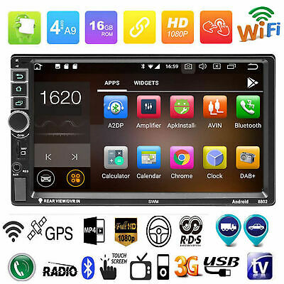 7'' 2 Din Quadcore Android 7.1 Car Stereo MP5 Player 4G GPS WIFI RDS FM AM Radio
