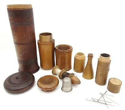 Antique Victorian Sewing Wooden Treenware Containers Thimble Cotton Pins Bobbins