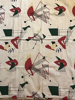"Vintage Mid Century Modern Atomic Barkcloth Drapery Panels / Fabric 64"" BY 76"""