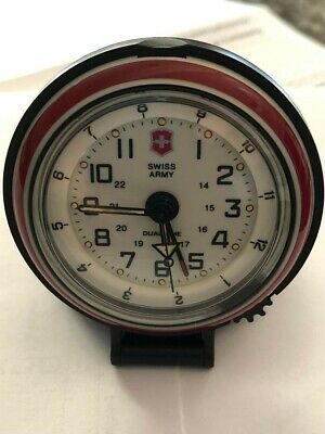Victorinox Swiss Army Dual Time 24 hr Travel Alarm Clock -Works Great-