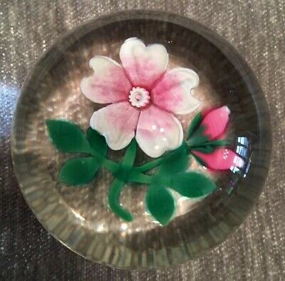 selkirk glass paperweight Pink Wild Rose, Hedgerow Series