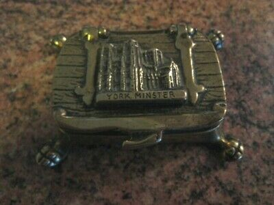 Old Brass York Minster Stamp Trinket Box