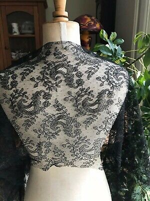 """Beautiful French Victorian CHANTILLY LACE Panel or Insertion 59"""" by 13"""""""