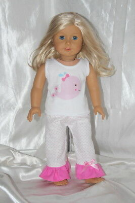 Doll Clothes fits 18inch American Girl Dress Outfit Hearts Pajamas Tank Top