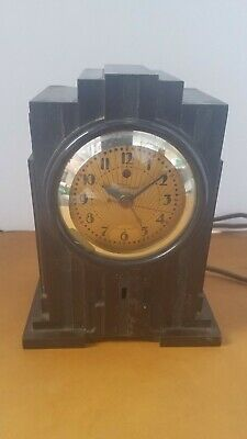 "Antique Warren Telechron Electrolarm ""SKYSCRAPER"" Art Deco Bakelite Alarm Clock"