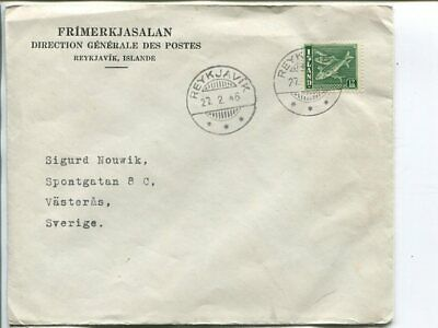 Iceland 12a on printed matter cover to Sweden 1948