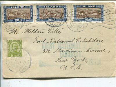 Iceland 3x10+5a on cover to USA 1928