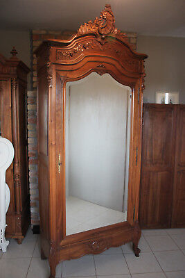 French antique solid walnut Louis XV wardrobe