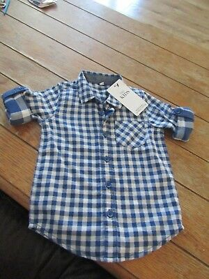 Baby Boy Marks & Spencers Shirt Aged 12-18  Months Blue & White Multi Check.