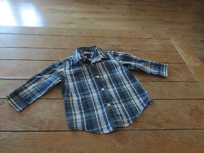 Baby Boy Tommy Hilfiger Shirt Aged 12 Months Blue & Green Multi Check.