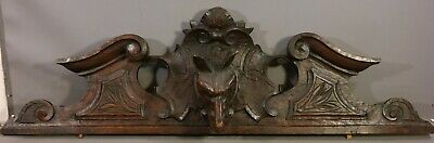 19thC Antique VICTORIAN Figural CARVED Wood WOLF BUST Old DOG STATUE DOOR FINIAL