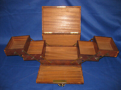 Antique Late Victorian Red Leather Bound Cantilever Trinket Box