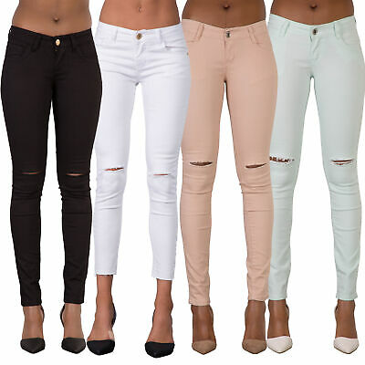 Women Ripped Knee Sexy Skinny Jeans Womens High Waisted Jegging 6 8 10 12 14