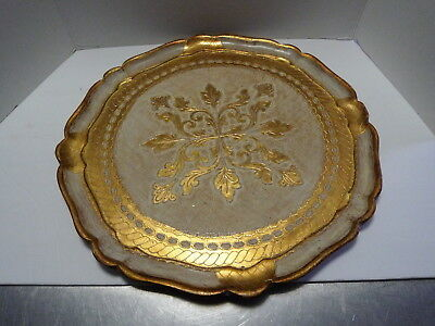 """Vintage Gold Scalloped Round Florentine Tray 17-1/4"""" Italy"""