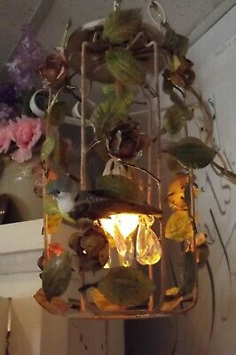 Antique Roses Painted Tole Hanging Lamp