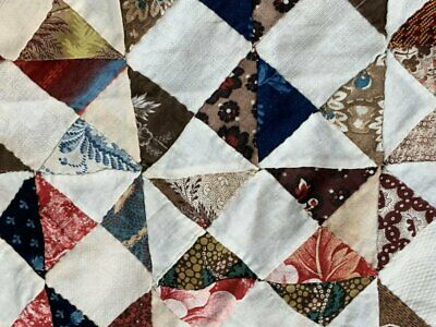 Early c 1830-40s Broken Dishes QUILT Top pc Antique STUDY