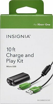 Insignia - Charge & Play Kit for Xbox One and One S Controllers - Black/Green