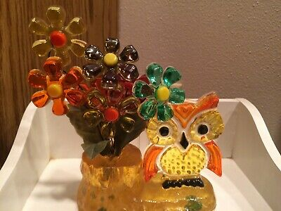 Vintage Mid Century Flower Power  Hippy  Lucite Resin Flowers With Owl