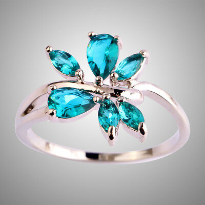 Delicate Marquise Cut Leaves Shaped Emerald Gemstone Silver Ring Size 9 Gifts