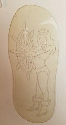 vintage unk tattoo acetate stencil for flash, navy naval usn pinup captain, shaw