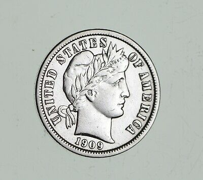 Higher Grade - 1909 Barber Liberty US Silver Dime - Great Detail in LIBERTY *689