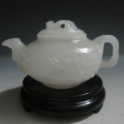 CHINESE NATURAL AFGHANISTAN JADE HAND-CARVED PLUM FLOWER TEAPOT & LID d02