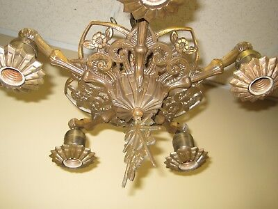 Rare 1930'S Art Deco Solid Bronze 5 Light Chandelier
