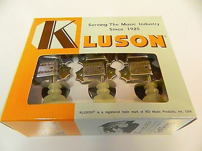 Kluson Traditional 3 + 3 Locking Tuners Sd90Sln Dr/l W/ Pearloid Buttons Nickel
