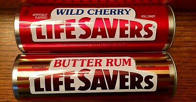 "2 Life Savers Metal Collectible Tins Cherry & Butter Rum Room Decor, 7"" Tall"