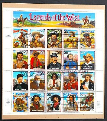 U.S. Used #2869 29c Legends of the West Sheet of 20.  SOTN First Day Cancel!