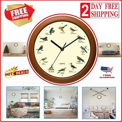 Singing Bird Wall Clock Audubon Society Battery Powered Home Clocks With Sound