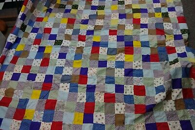 1950's Quilt Top-68x75-HAIRPIN CATCHER Pattern-Bright Colors,Nursery Prints