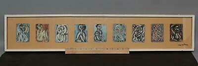 9 Small YVAN BELTRAME Modernist Surreal Expressionist Oil Painting Playing Cards