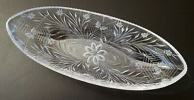 American Brilliant ABP Cut Glass Crystal Serving Dish, Oval shape, Antique clear