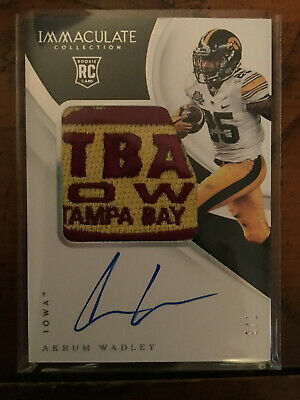 2018 Panini Immaculate Collegiate Akrum Wadley Rookie Patch Bowl Auto #3/5 Iowa