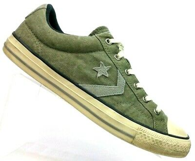 Converse CONS Olive Gray Suede Leather Star Player OX Sneakers 147486 Men s  8.5 97cd58481
