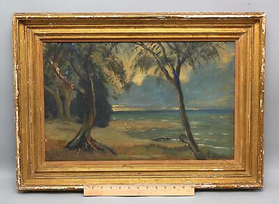 Antique LOUIS EILSHEMIUS California Impressionist Coastal Landscape Oil Painting