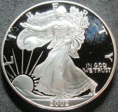 2002-W Proof American Eagle 1 Ounce Fine Silver Dollar Coin
