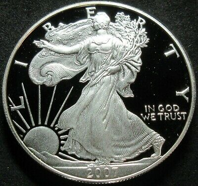 2007-W Proof American Eagle 1 Ounce Fine Silver Dollar Coin