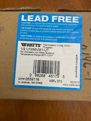 Thermostatic Mixing Valve,1/2 in. WATTS LFMMV-M1-UT