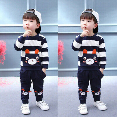 2Pcs Toddler Child Kids Baby Boy Top+Pants Outfit Clothes Set Round Neck Hoody