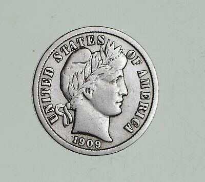Higher Grade - 1909 Barber Liberty US Silver Dime - Great Detail in LIBERTY *702