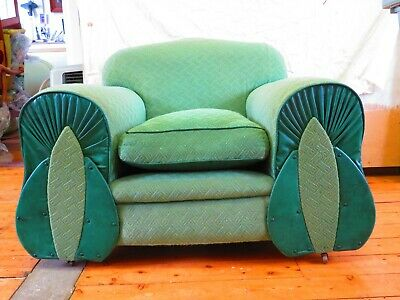 2 Art deco lounge chairs, recovered in the1960's in green fabric and vinyl.