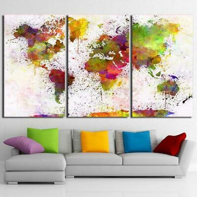 WORLD MAP IN COLORS Canvas Art Print for Wall Decor Painting