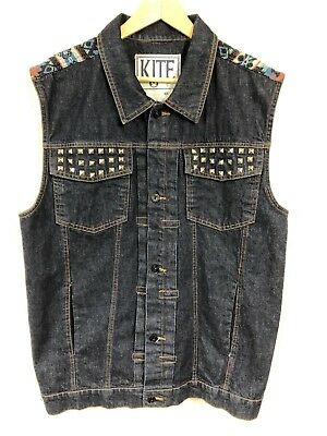 Kite Biker Motorcycle Vest Denim Southwest Embroidery Metal Studs 48 Chest