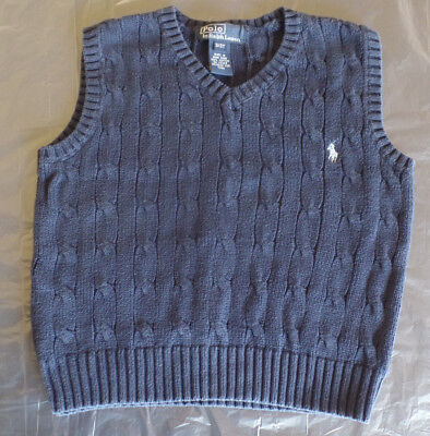 Polo by Ralph Lauren Toddler Boys Navy Blue Cable V-Neck Sweater Vest 3/3T