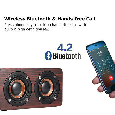 Wireless Wood Bluetooth Speaker TF AUX Home Party Music Super Bass Sound W5A2